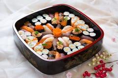 Fresh Japanese Sushi Platter. Assorted sushi on a platter Royalty Free Stock Image