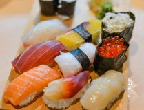 Fresh Japanese sushi raw fish royalty free stock photo