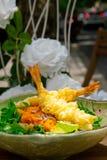 Fresh Japanese tempura shrimps with salad Royalty Free Stock Image