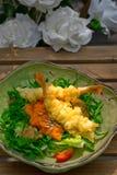Fresh Japanese tempura shrimps with salad Stock Photo