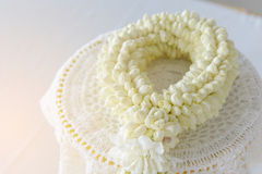 Fresh jasmine garland on tray for Mother Day of Thailand with space for text. Royalty Free Stock Images