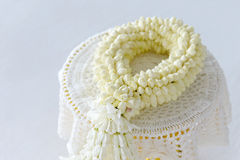 Fresh jasmine garland on tray for Mother Day of Thailand with space for text. Stock Images