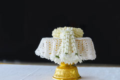 Fresh jasmine garland on tray for Mother Day of Thailand with space for text. Royalty Free Stock Image