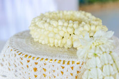 Fresh jasmine garland on tray for Mother Day of Thailand. Royalty Free Stock Photos