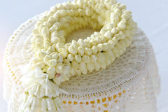 Fresh jasmine garland on tray for Mother Day of Thailand. Stock Images