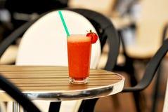 Fresh Juice. Fresh Strawberry Juice  at  terrace pub Royalty Free Stock Photo