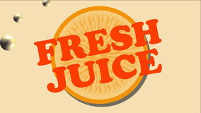 Fresh juice animated banner with orange slice and lemonade bubbles stock video