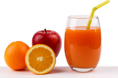 Fresh juice from apple and orange on white background Stock Photo
