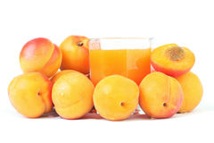 Fresh juice with apricot group. Royalty Free Stock Images
