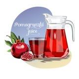Fresh juice background with pomegranates royalty free illustration