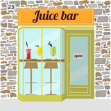 Fresh juice bar building. Facade of stone. Bar stools and shakes in glasses in the window. EPS10 Royalty Free Stock Images