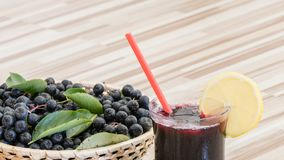 Fresh juice of chokeberry Aronia melanocarpa in glass and berry in pot royalty free stock images