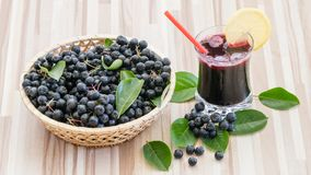 Fresh juice of chokeberry Aronia melanocarpa in glass and berry in pot on wooden royalty free stock photography