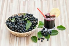 Fresh juice of chokeberry or Aronia melanocarpa in glass with ice, lemon and straw. Berry in basket on wooden background royalty free stock images
