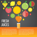 Fresh juice colorful round fruit icon set for. Vector modern illustration, stylish design element stock illustration