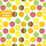 Fresh juice colorful round fruits, vegetables icon set and pattern for market or cafe. Vector modern illustration, stylish design elememt Royalty Free Stock Photography