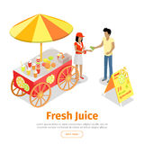 Fresh Juice Conceptual Isometric Vector Web Banner. Fresh juice web banner. Street cart store on wheels with juices, seller with paper cup full of lemonade and vector illustration