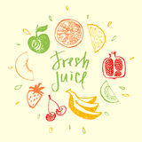 Fresh juice.Design element for eco mixed fresh juice and drink. Fitness, Diet and Calorie. Logo fresh juice. Fruit menu and  bar Royalty Free Stock Images