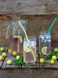 The fresh juice or drink with ice cubes and a slice of lemon with a yellow plum and basil Royalty Free Stock Photography
