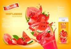 Fresh Juice with Exotic Fruits and Splashing Liquid. Royalty Free Stock Images