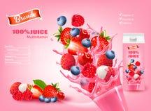 Fresh Juice with Exotic Fruits and Splashing Liquid. Royalty Free Stock Image