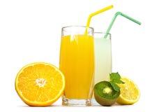 Fresh juice and fruit Stock Photos