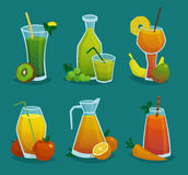 Fresh Juice  And Fruits Icons Set. Decorative icons set of pitchers and glasses with fresh juice and  fruits made in cartoon style   vector illustration Stock Image