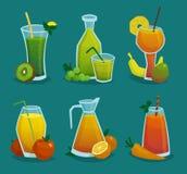 Fresh Juice And Fruits Icons Set stock illustration