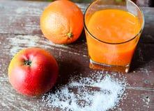 Fresh juice and fruits Stock Image