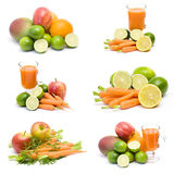 Fresh juice, fruits and vegetables. Collage Stock Image