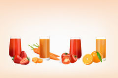 Fresh juice from fruits. And vegetables Stock Images