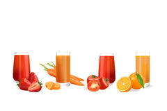 Fresh juice from fruits. And vegetables Royalty Free Stock Photos