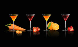 Fresh juice from fruits and vegetables. Strawberry, Orange, Tomato and Carrot in a glass isolated on a black background, vector illustration Stock Photo