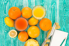 Fresh juice in glass from citrus Royalty Free Stock Photo