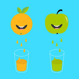 Fresh juice and glasses. Apple, orange fruit with faces. Smiling cute cartoon character set. Natural product. Juicing drops. Flat Stock Photos