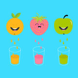 Fresh juice and glasses. Apple, strawberry, orange fruit with faces. Smiling cute cartoon character set. Natural product. Juicing Stock Images