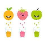 Fresh juice and glasses. Apple, strawberry, orange fruit with faces. Royalty Free Stock Image