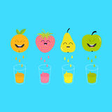 Fresh juice and glasses. Apple, strawberry, pear, orange fruit with faces.  Stock Photos