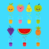 Fresh juice and glasses. Apple, strawberry, pear, orange, grape, watermelon, pineaple fruit with faces. Smiling cute cartoon chara Stock Image