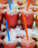 Fresh Juice In Plastic Cups Royalty Free Stock Photo