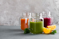 Fresh juice in the jar for detox or healthy lifestyle Stock Photography