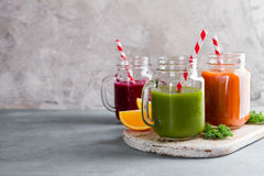 Fresh juice in the jar for detox or healthy lifestyle Stock Photos