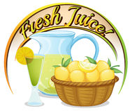Fresh juice label with a basket of oranges Stock Image