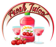 A fresh juice label with cherries Royalty Free Stock Photos