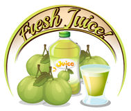 Fresh juice label with guavas Stock Photo