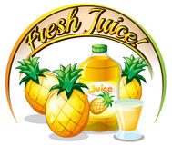 Fresh juice label with pineapples Stock Photography
