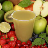 Fresh juice made of apples, kiwi and lemons Royalty Free Stock Photos