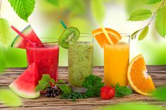 Fresh juice mix fruit Stock Images