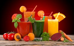Fresh juice mix fruit Stock Photos