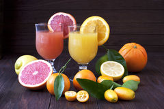 Fresh juice mix fruit, healthy drinks on wooden table Stock Image